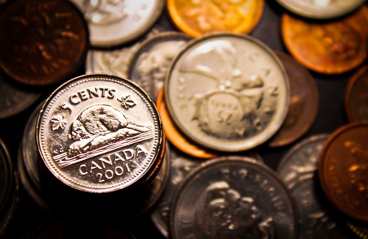 A group of Canadian coins, with the nickel being highlighted.