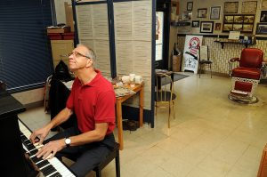 Norm Friesen works on composing gospel music in downtown New Westminster