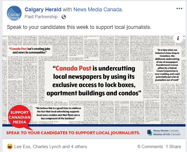 Help curtail unfair flyer distribution by Canada Post by asking readers to support Canadian media