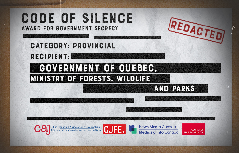Quebec Ministry of Forests, Wildlife and Parks recognized for 'Outstanding Achievement' in Government Secrecy