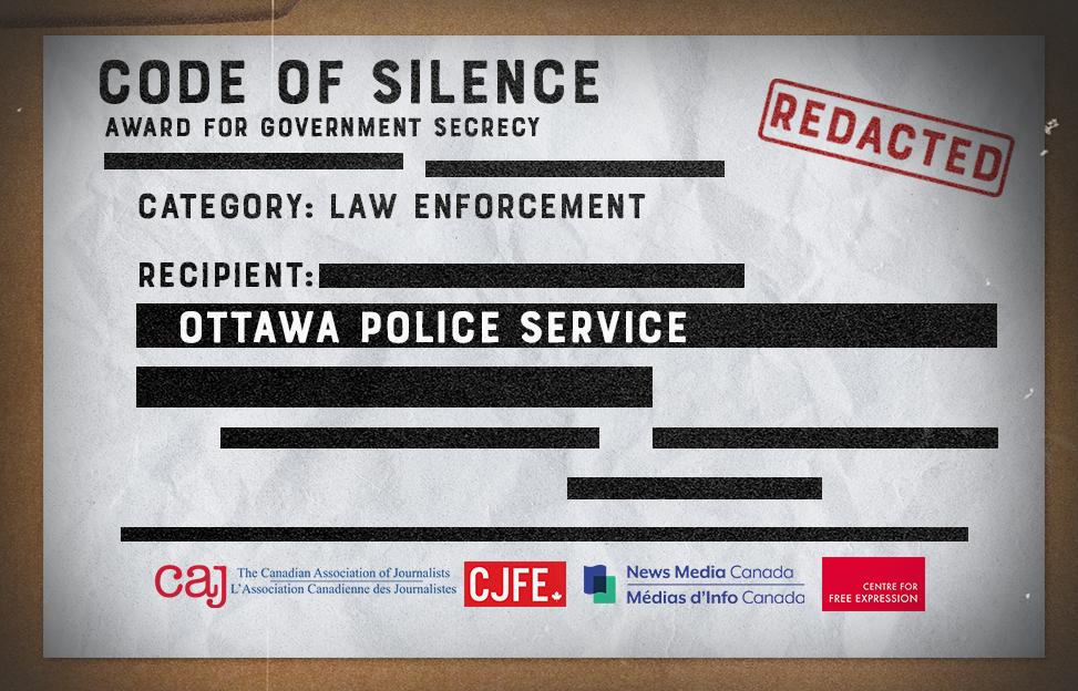 Ottawa Police Service recognized for 'Outstanding Achievement' in Government Secrecy